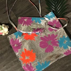 """Falchi Metallic """"Snakeskin"""" Tote With Pouch"""